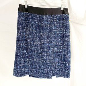 Nanette Lepore Size 8 Skirt Blue Tweed Back Pleats